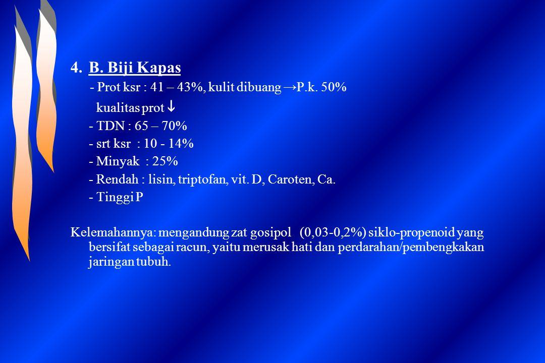 B. Biji Kapas kualitas prot i - TDN : 65 – 70% - srt ksr : 10 - 14%