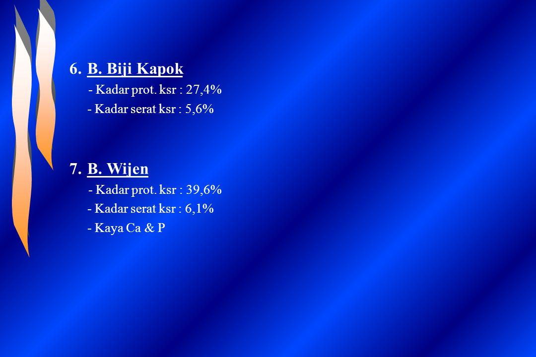 B. Biji Kapok B. Wijen - Kadar serat ksr : 5,6%