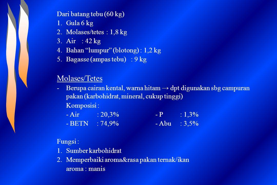Molases/Tetes Dari batang tebu (60 kg) Gula 6 kg