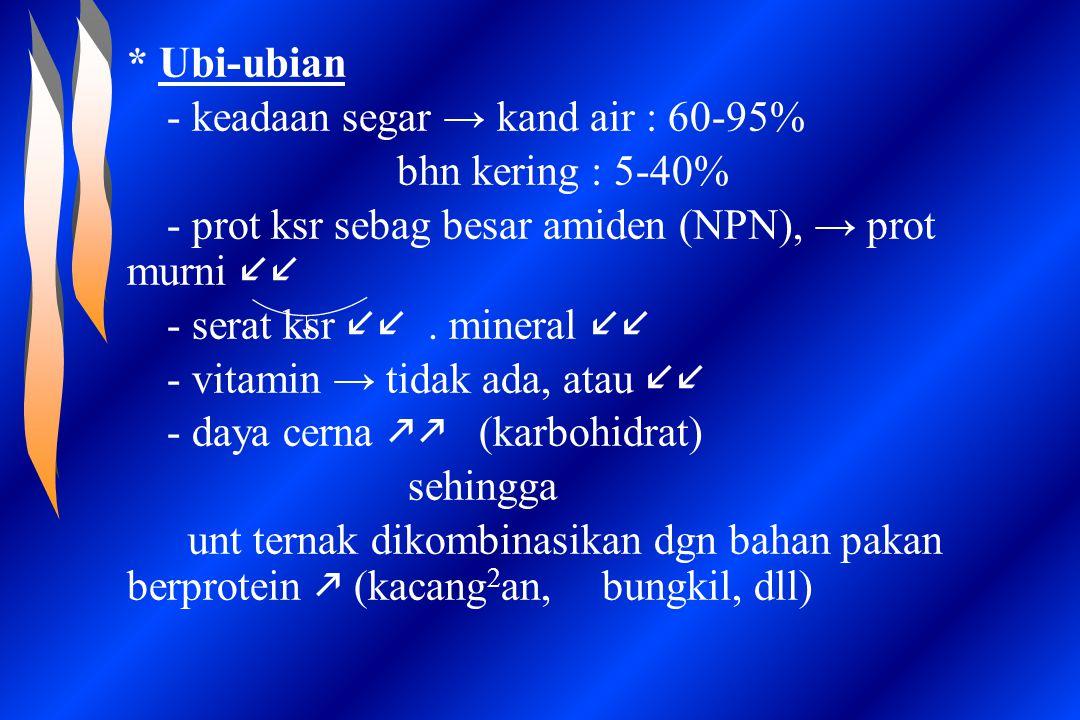 * Ubi-ubian - keadaan segar → kand air : 60-95% bhn kering : 5-40% - prot ksr sebag besar amiden (NPN), → prot murni ll.