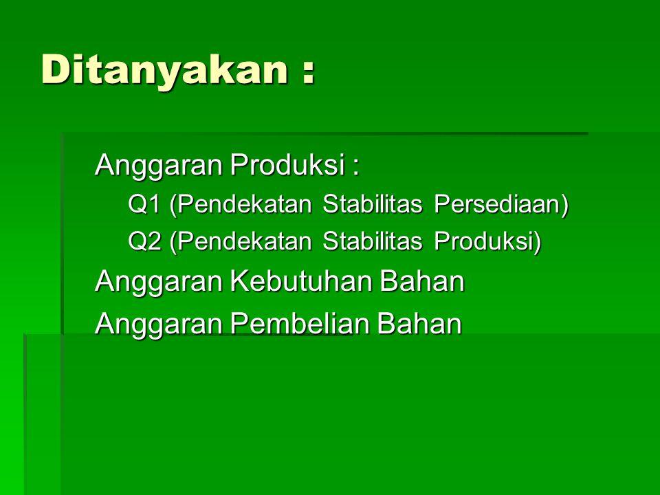Ditanyakan : Anggaran Produksi : Anggaran Kebutuhan Bahan