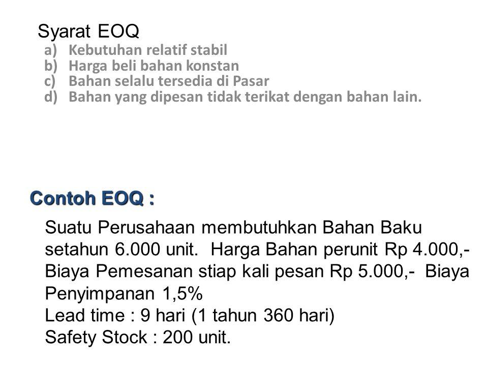 Syarat EOQ Kebutuhan relatif stabil. Harga beli bahan konstan. Bahan selalu tersedia di Pasar. Bahan yang dipesan tidak terikat dengan bahan lain.