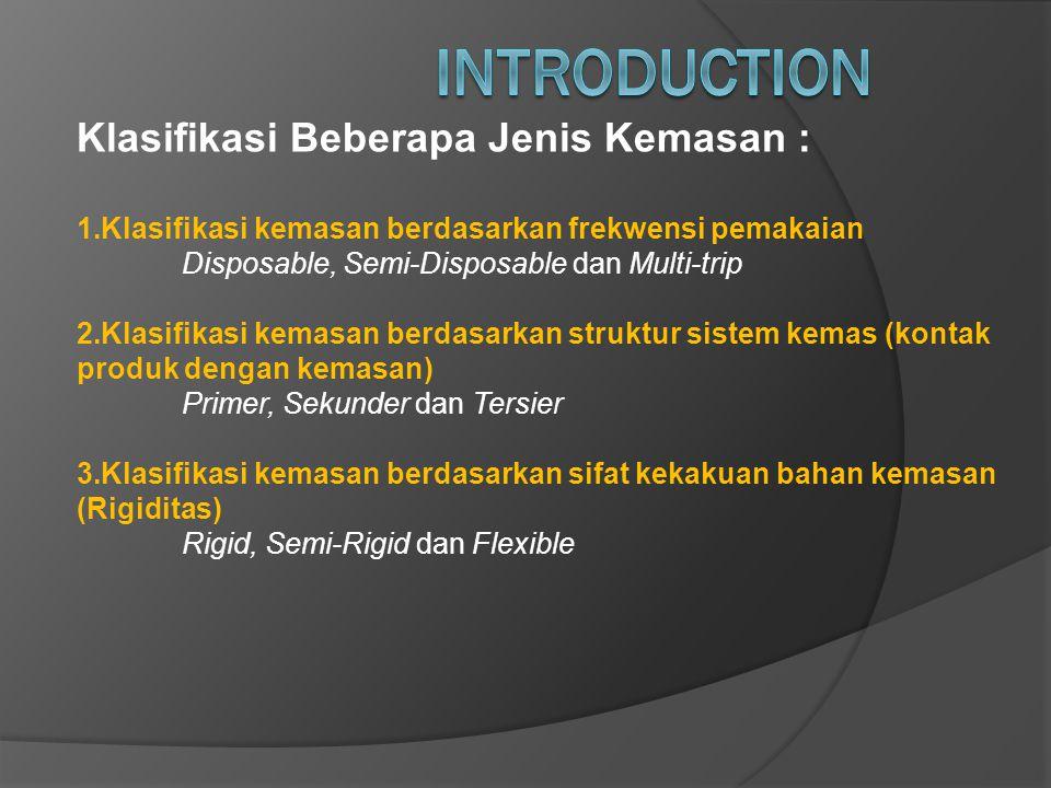 INTRODUCTION Klasifikasi Beberapa Jenis Kemasan :