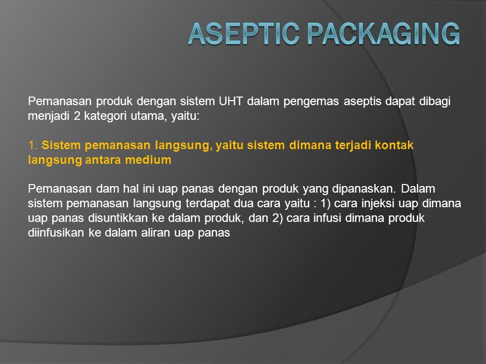 ASEPTIC PACKAGING Pemanasan produk dengan sistem UHT dalam pengemas aseptis dapat dibagi menjadi 2 kategori utama, yaitu: