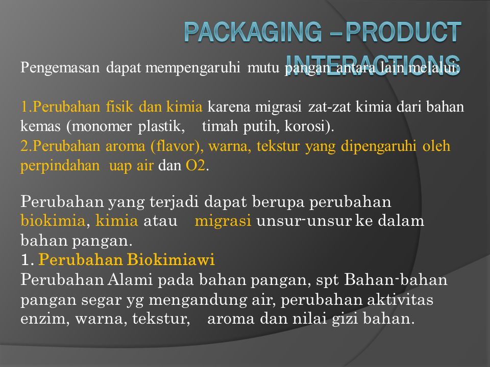 PACKAGING –PRODUCT INTERACTIONS