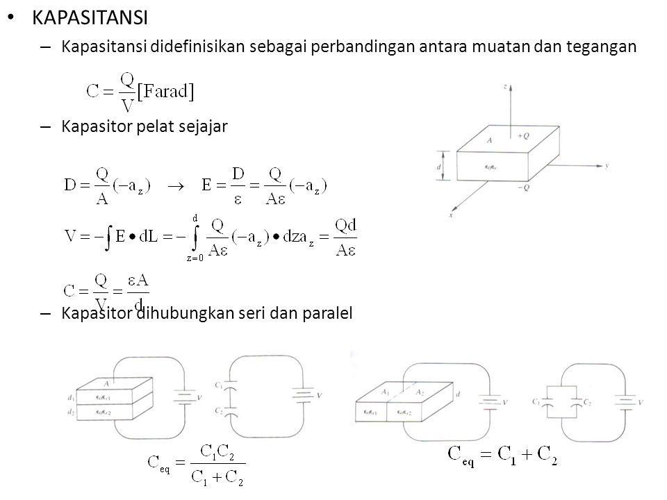 KAPASITANSI Kapasitansi didefinisikan sebagai perbandingan antara muatan dan tegangan. Kapasitor pelat sejajar.