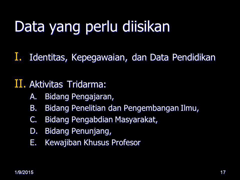 Data yang perlu diisikan