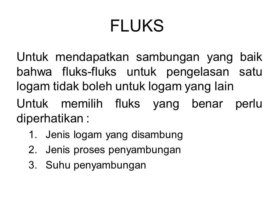 FLUKS Untuk mendapatkan sambungan yang baik bahwa fluks-fluks untuk pengelasan satu logam tidak boleh untuk logam yang lain.