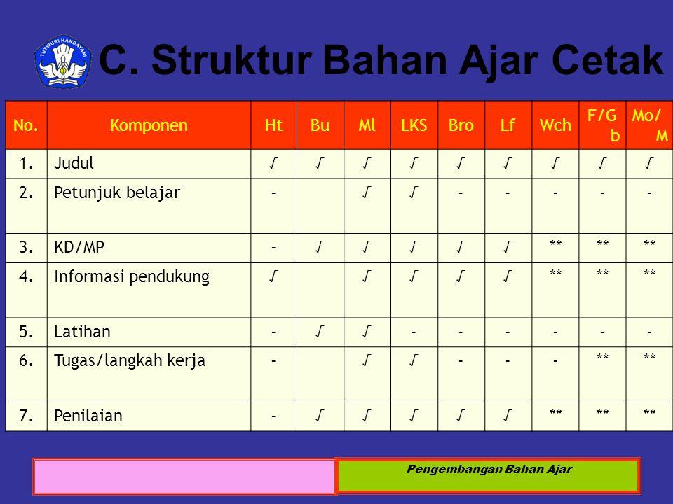 C. Struktur Bahan Ajar Cetak
