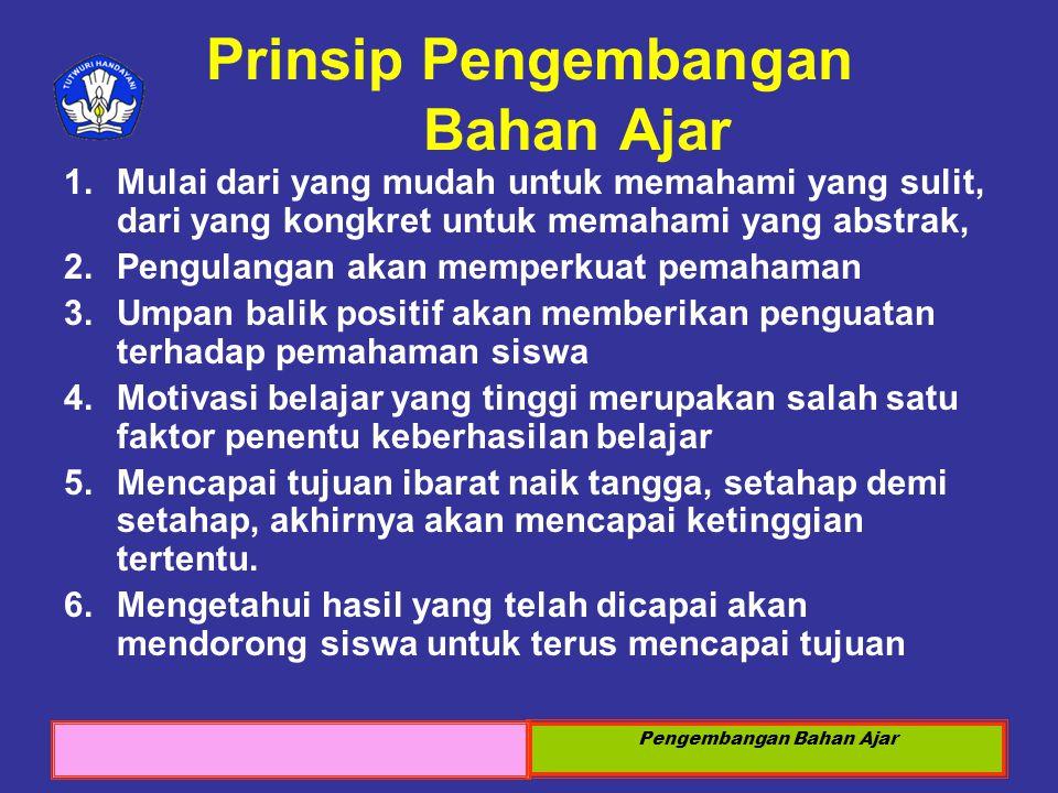 Prinsip Pengembangan Bahan Ajar
