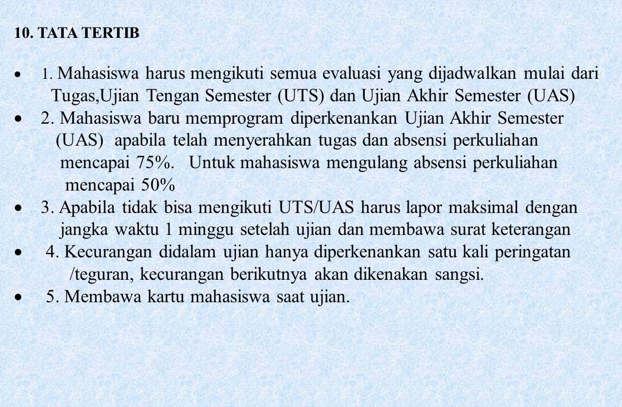 Tugas,Ujian Tengan Semester (UTS) dan Ujian Akhir Semester (UAS)