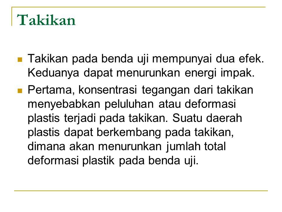 Takikan Takikan pada benda uji mempunyai dua efek. Keduanya dapat menurunkan energi impak.