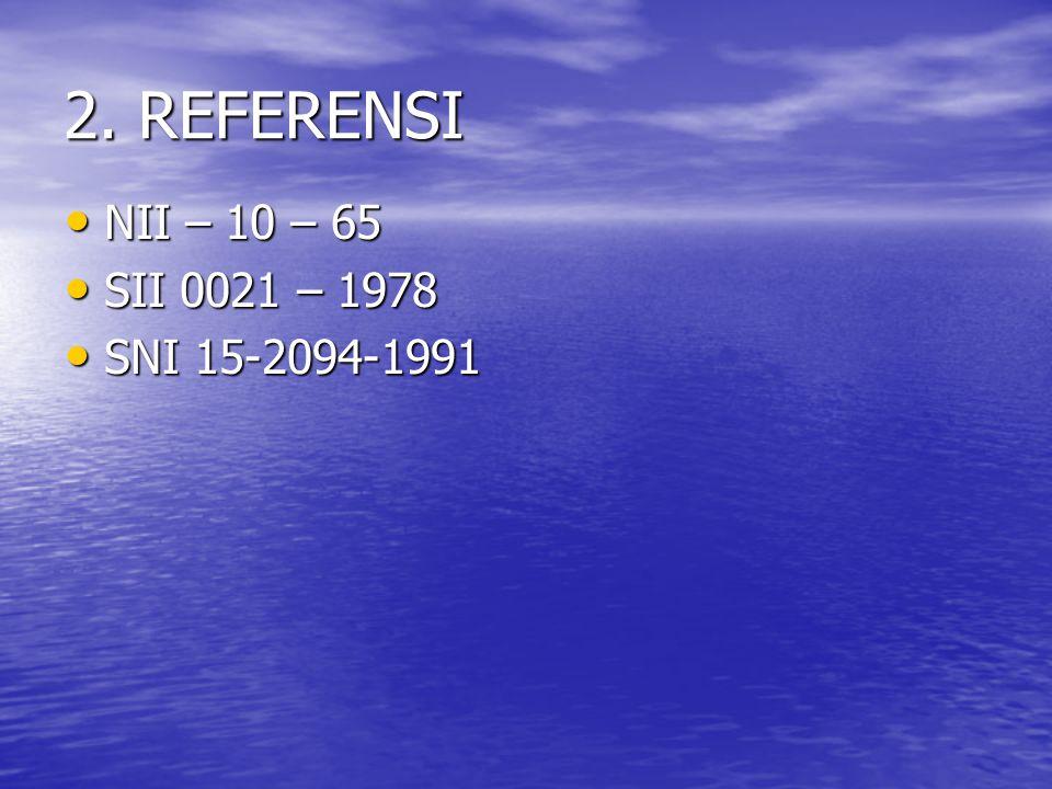 2. REFERENSI NII – 10 – 65 SII 0021 – 1978 SNI 15-2094-1991