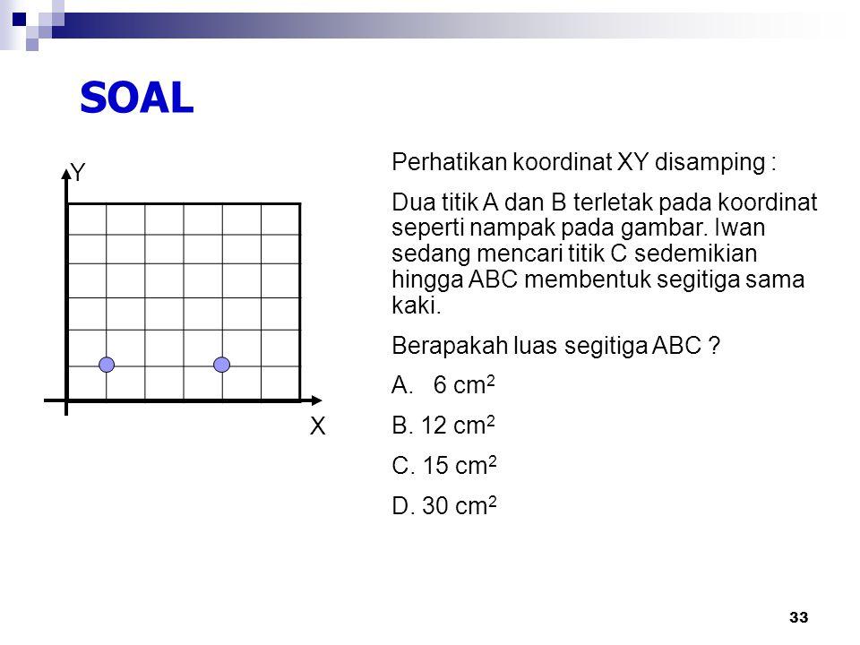 SOAL Perhatikan koordinat XY disamping : Y