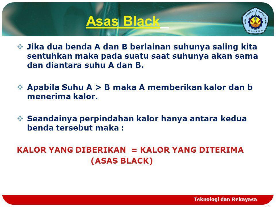 Asas Black Jika dua benda A dan B berlainan suhunya saling kita sentuhkan maka pada suatu saat suhunya akan sama dan diantara suhu A dan B.