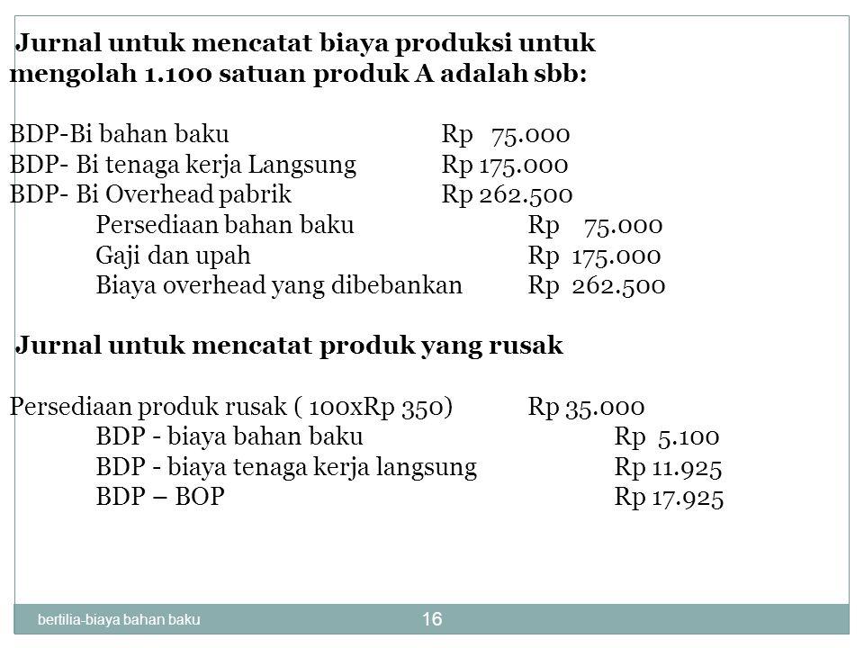 Jurnal untuk mencatat biaya produksi untuk mengolah 1