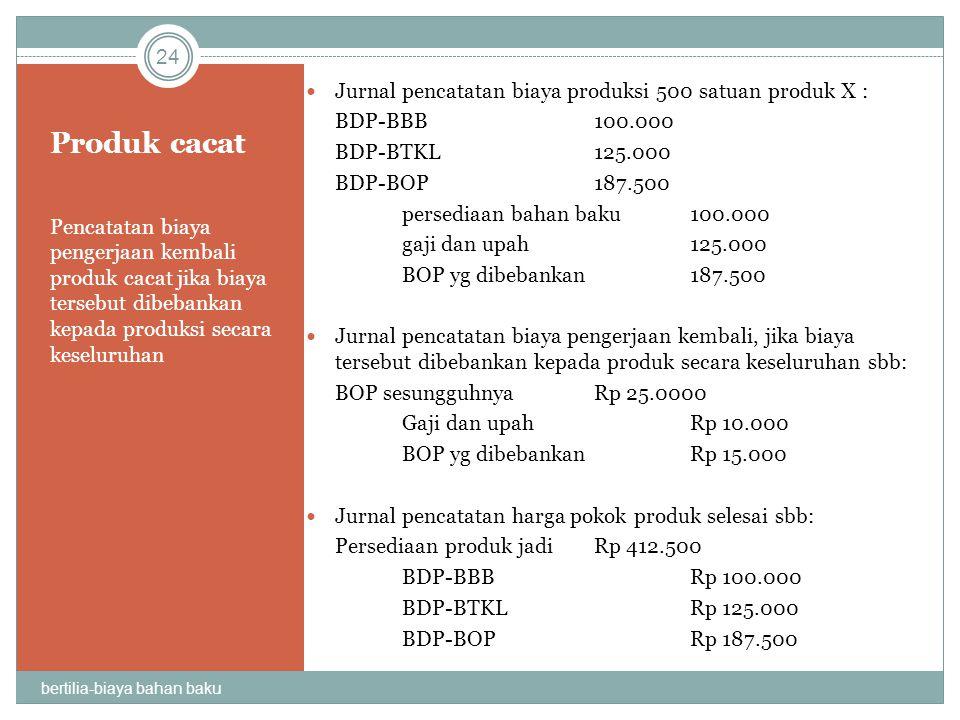 Produk cacat Jurnal pencatatan biaya produksi 500 satuan produk X :