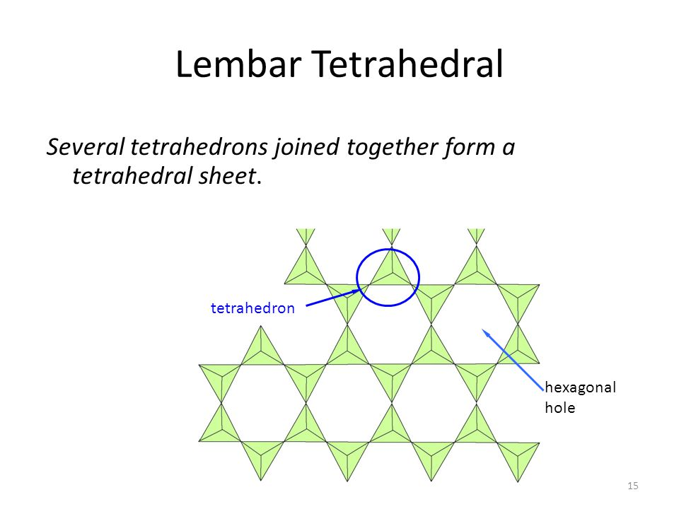 Lembar Tetrahedral Several tetrahedrons joined together form a tetrahedral sheet. tetrahedron.