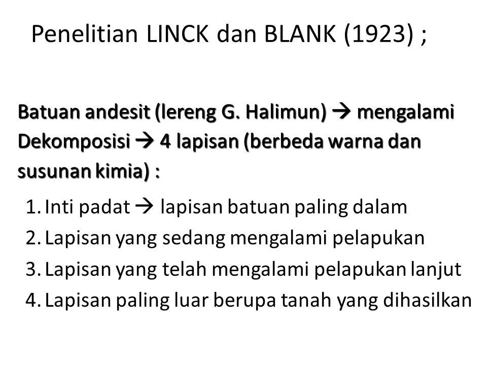 Penelitian LINCK dan BLANK (1923) ;