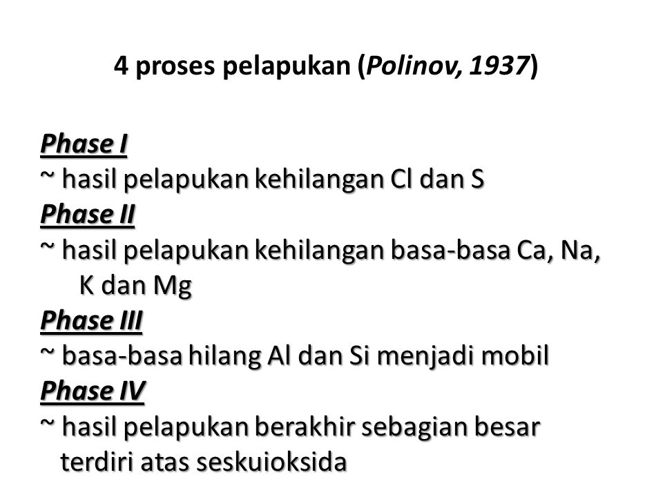 4 proses pelapukan (Polinov, 1937)