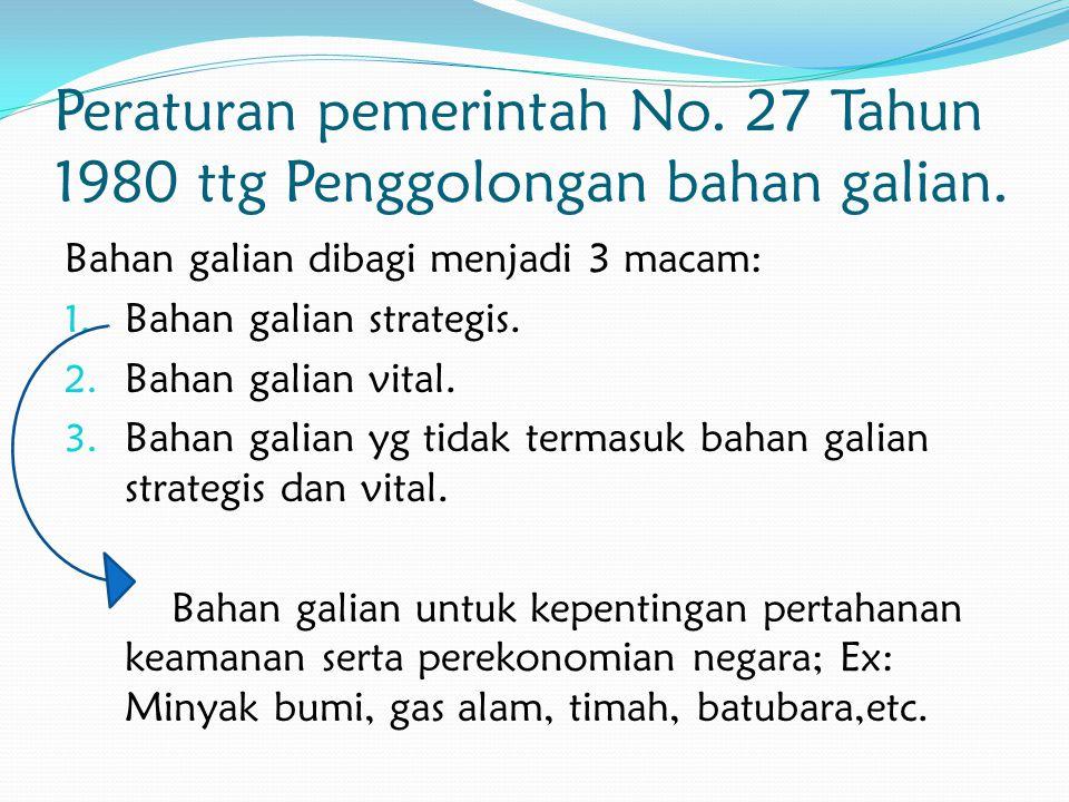 Peraturan pemerintah No. 27 Tahun 1980 ttg Penggolongan bahan galian.