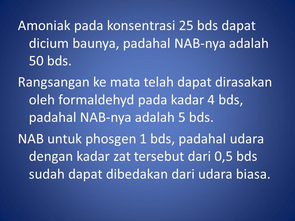 Amoniak pada konsentrasi 25 bds dapat dicium baunya, padahal NAB-nya adalah 50 bds.