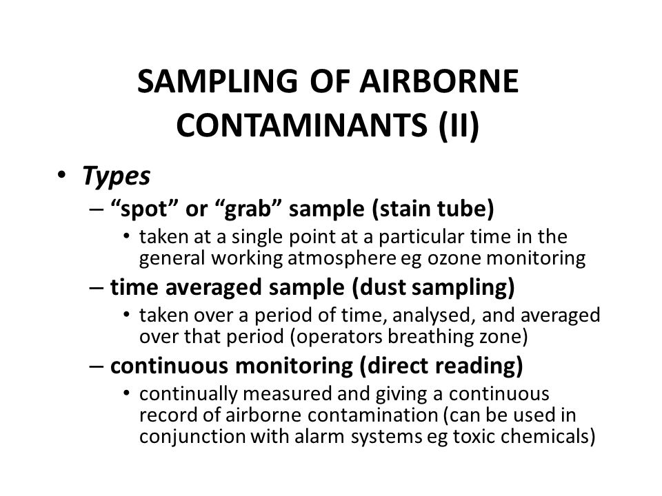 SAMPLING OF AIRBORNE CONTAMINANTS (II)