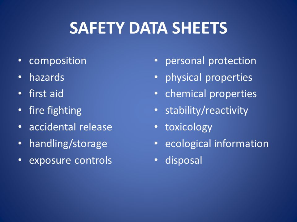 SAFETY DATA SHEETS composition hazards first aid fire fighting