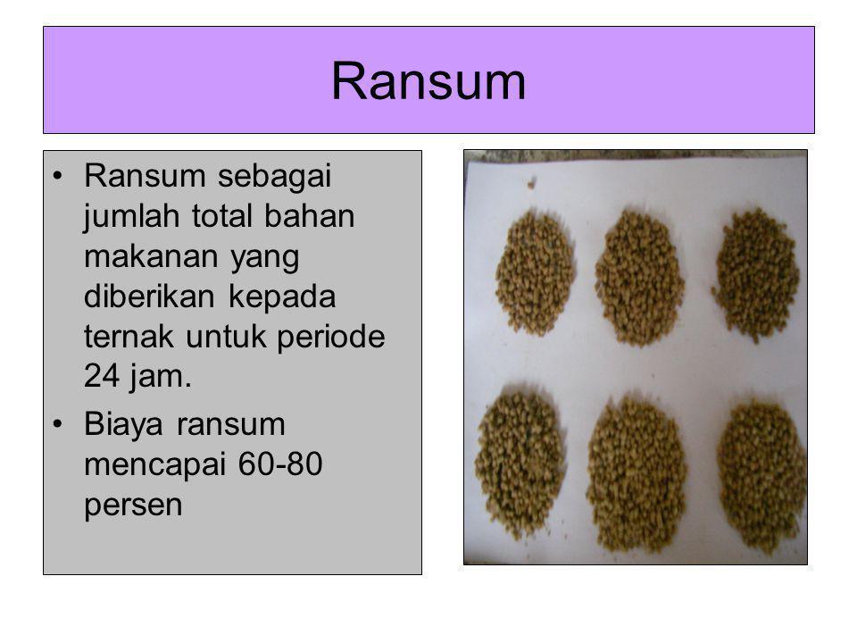 Ransum Ransum sebagai jumlah total bahan makanan yang diberikan kepada ternak untuk periode 24 jam.