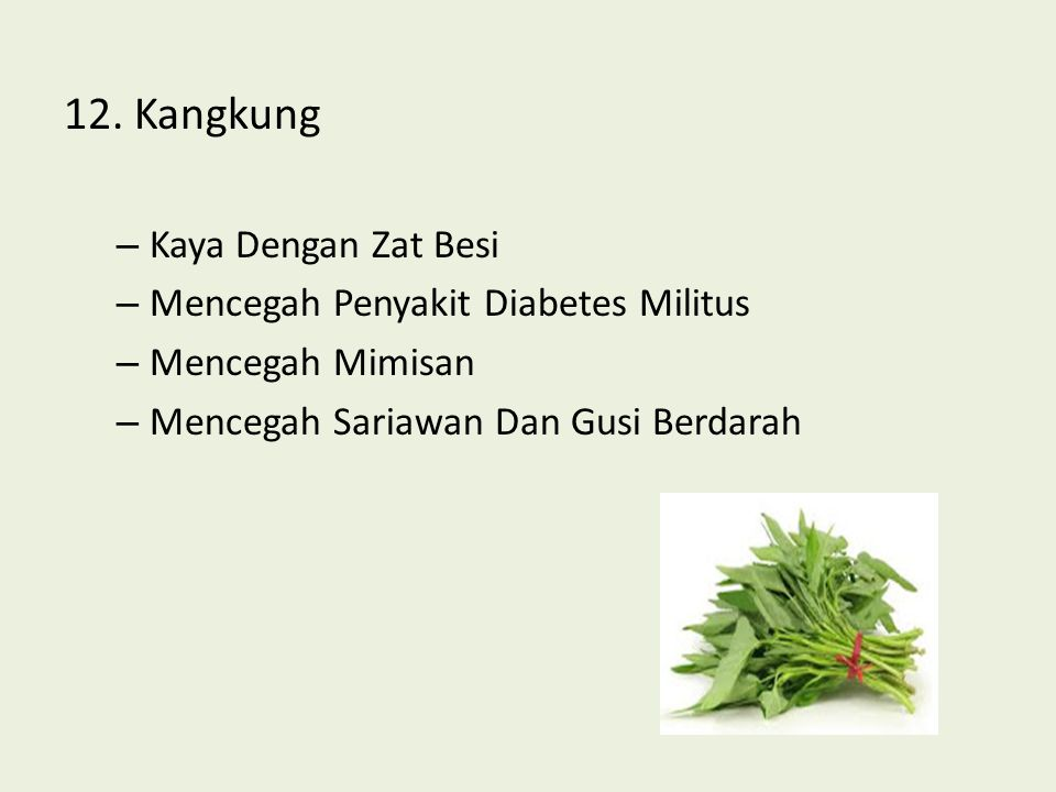 12. Kangkung Kaya Dengan Zat Besi Mencegah Penyakit Diabetes Militus