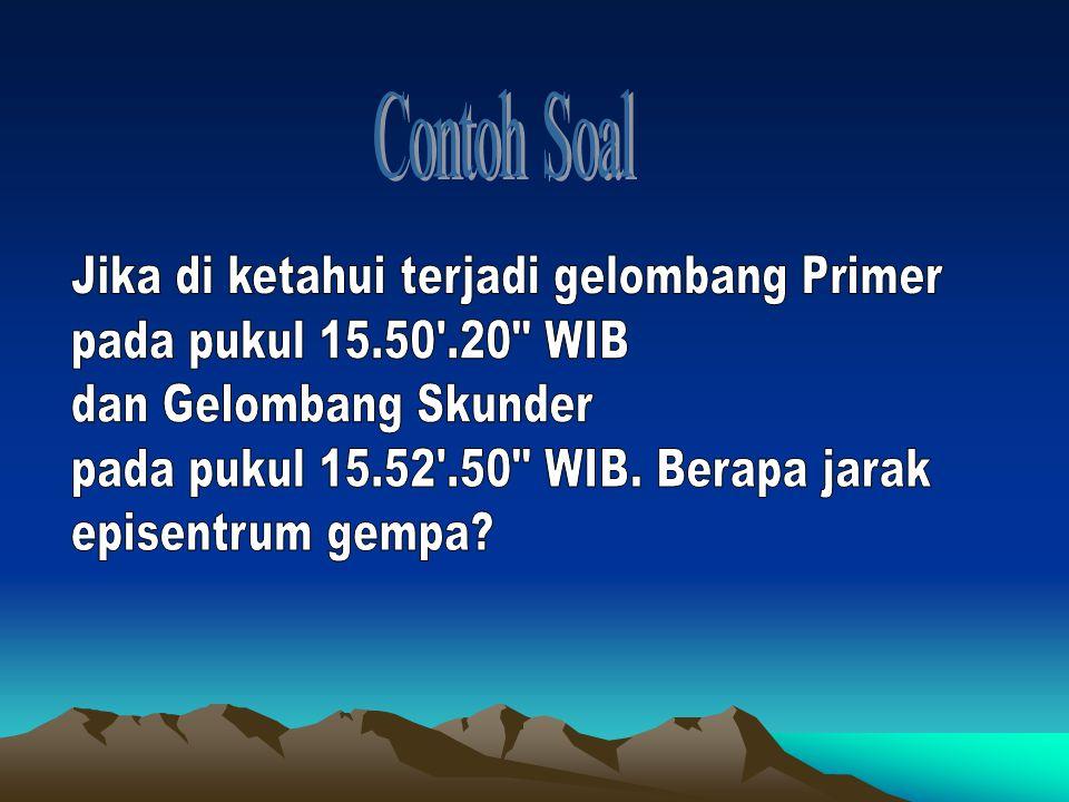 Contoh Soal Jika di ketahui terjadi gelombang Primer. pada pukul 15.50 .20 WIB. dan Gelombang Skunder.