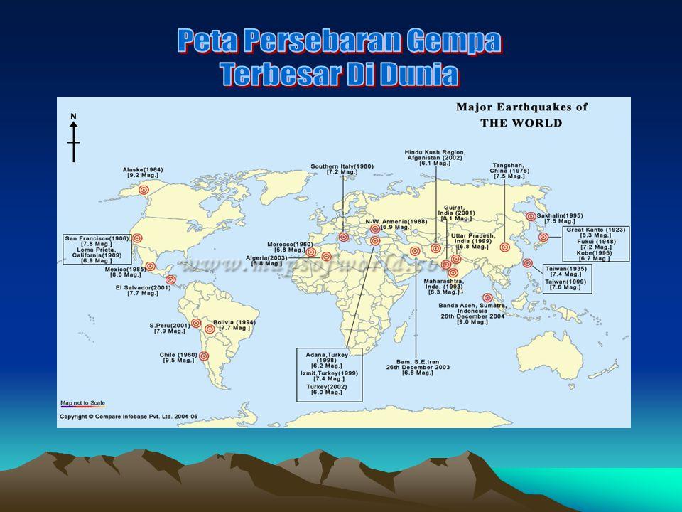 Peta Persebaran Gempa Terbesar Di Dunia