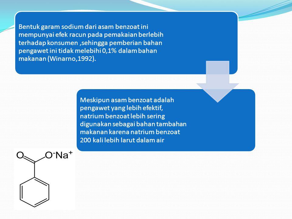 Bentuk garam sodium dari asam benzoat ini mempunyai efek racun pada pemakaian berlebih terhadap konsumen ,sehingga pemberian bahan pengawet ini tidak melebihi 0,1% dalam bahan makanan (Winarno,1992).