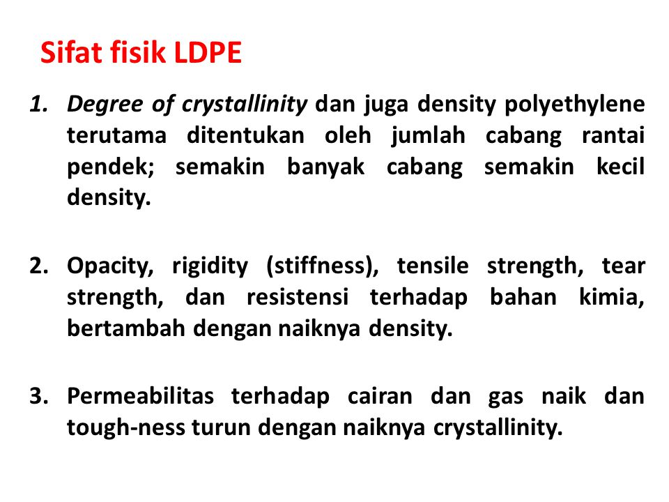 Sifat fisik LDPE