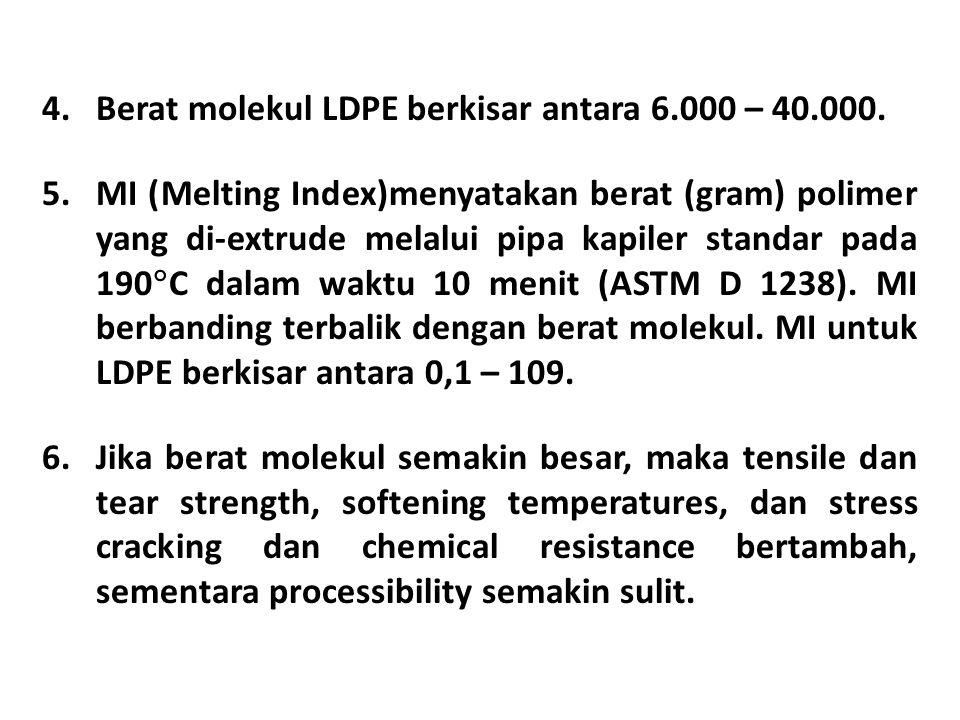 Berat molekul LDPE berkisar antara 6.000 – 40.000.
