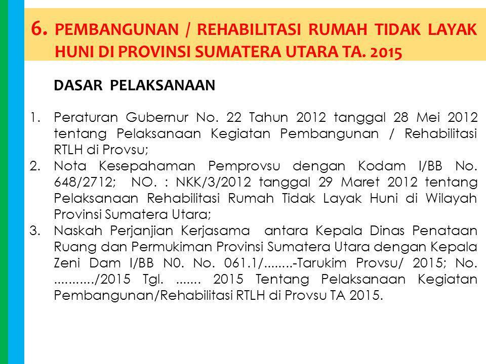 6. PEMBANGUNAN / REHABILITASI RUMAH TIDAK LAYAK HUNI DI PROVINSI SUMATERA UTARA TA. 2015