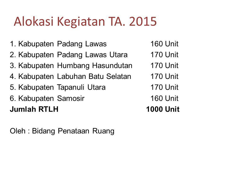 Alokasi Kegiatan TA. 2015 Kabupaten Padang Lawas 160 Unit