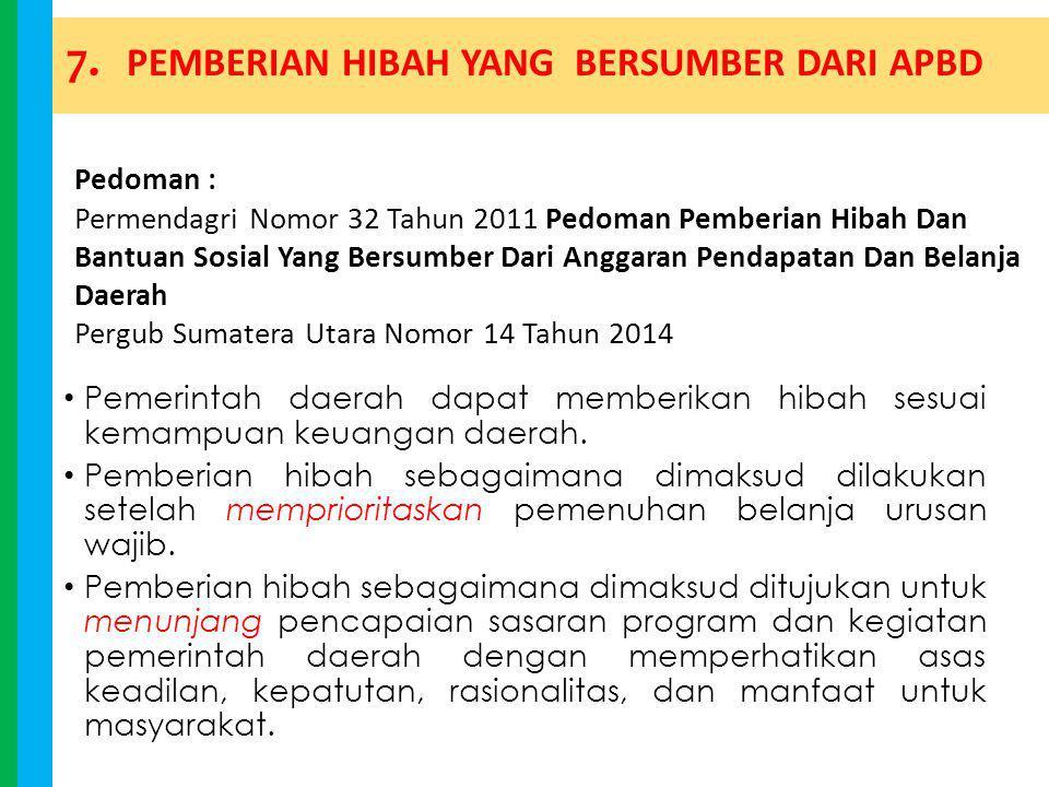 7. PEMBERIAN HIBAH YANG BERSUMBER DARI APBD