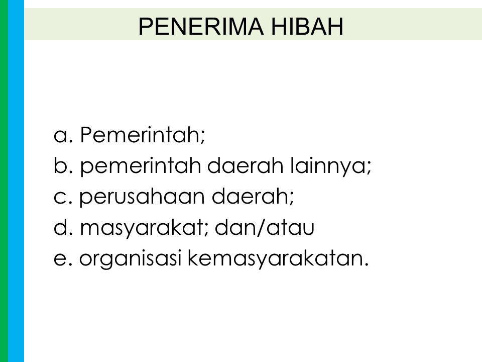 PENERIMA HIBAH a. Pemerintah; b. pemerintah daerah lainnya;