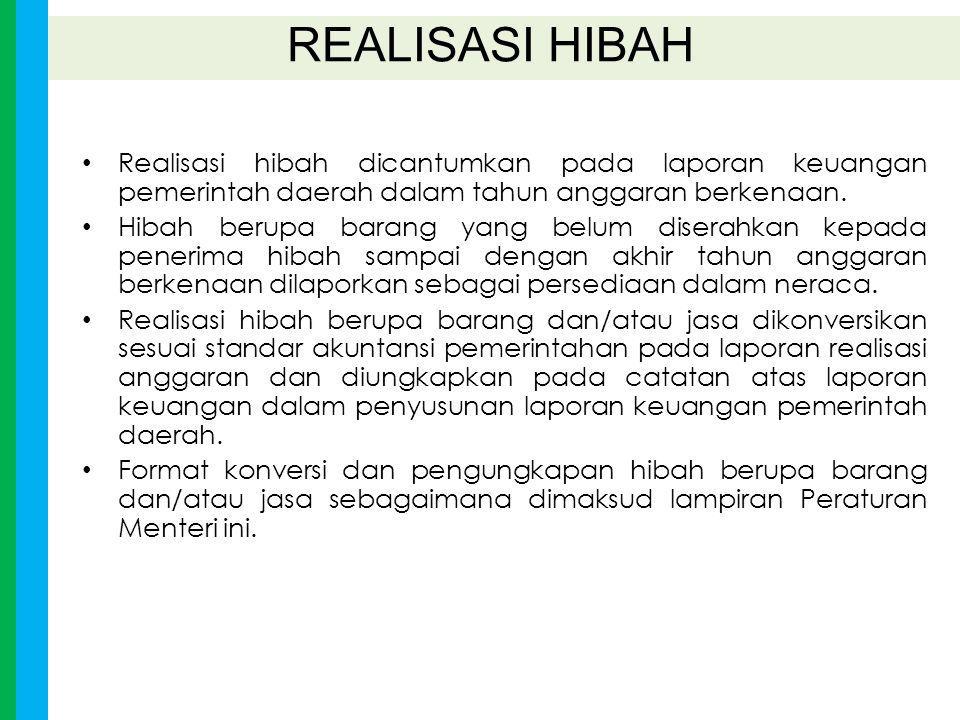 REALISASI HIBAH Realisasi hibah dicantumkan pada laporan keuangan pemerintah daerah dalam tahun anggaran berkenaan.