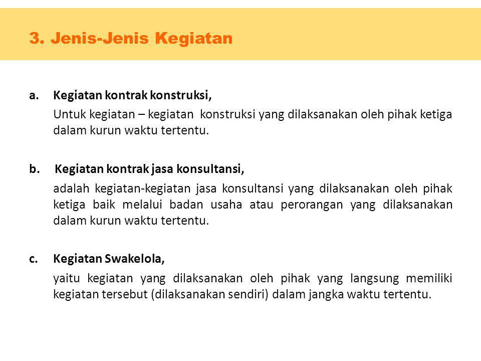 3. Jenis-Jenis Kegiatan Kegiatan kontrak konstruksi,