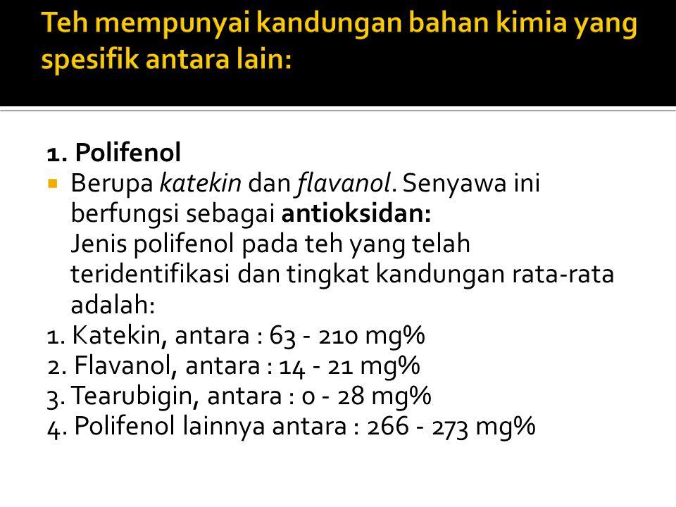 Teh mempunyai kandungan bahan kimia yang spesifik antara lain: