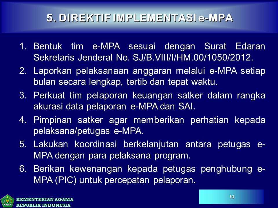 5. DIREKTIF IMPLEMENTASI e-MPA