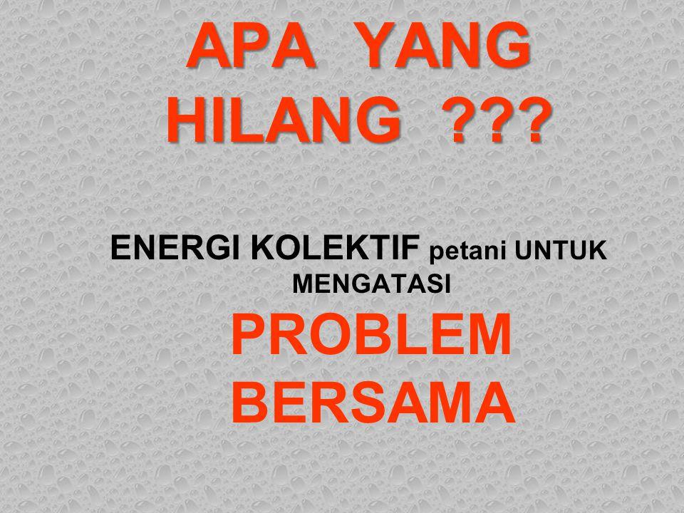 ENERGI KOLEKTIF petani UNTUK MENGATASI PROBLEM BERSAMA