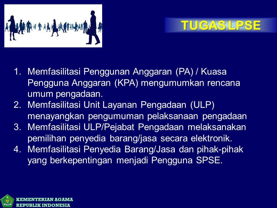 TUGAS LPSE Memfasilitasi Penggunan Anggaran (PA) / Kuasa Pengguna Anggaran (KPA) mengumumkan rencana umum pengadaan.