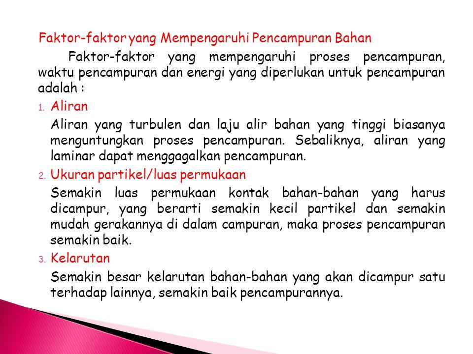 Faktor-faktor yang Mempengaruhi Pencampuran Bahan