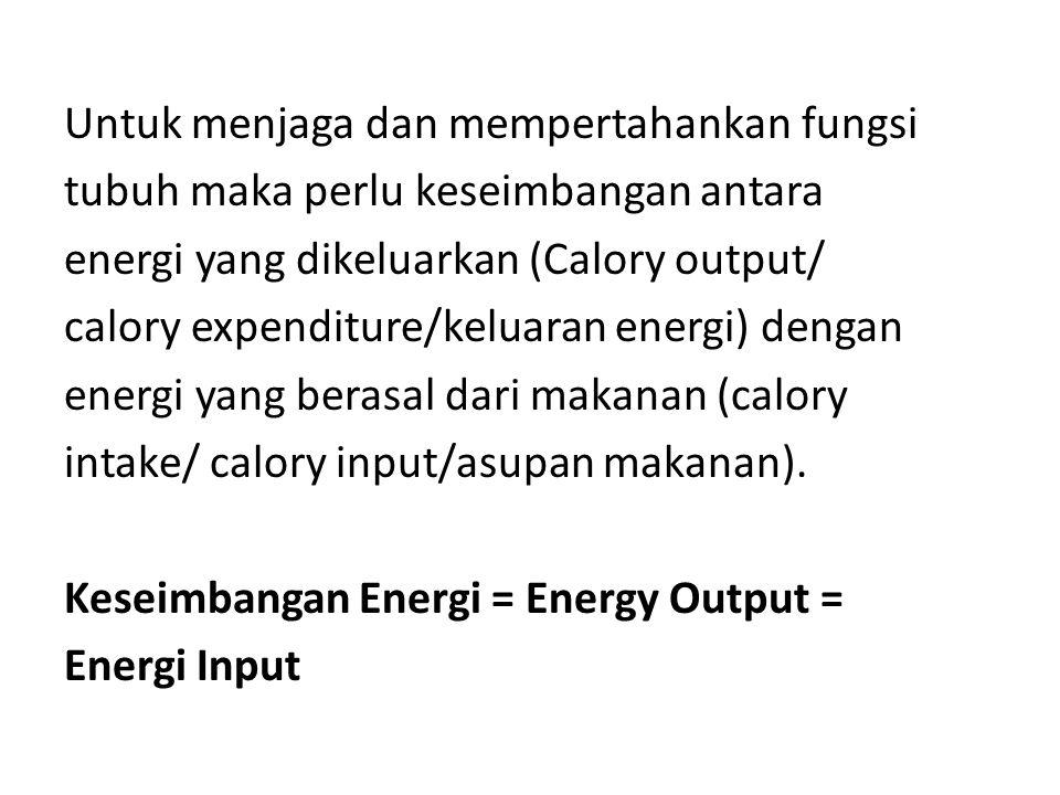 Untuk menjaga dan mempertahankan fungsi tubuh maka perlu keseimbangan antara energi yang dikeluarkan (Calory output/ calory expenditure/keluaran energi) dengan energi yang berasal dari makanan (calory intake/ calory input/asupan makanan).