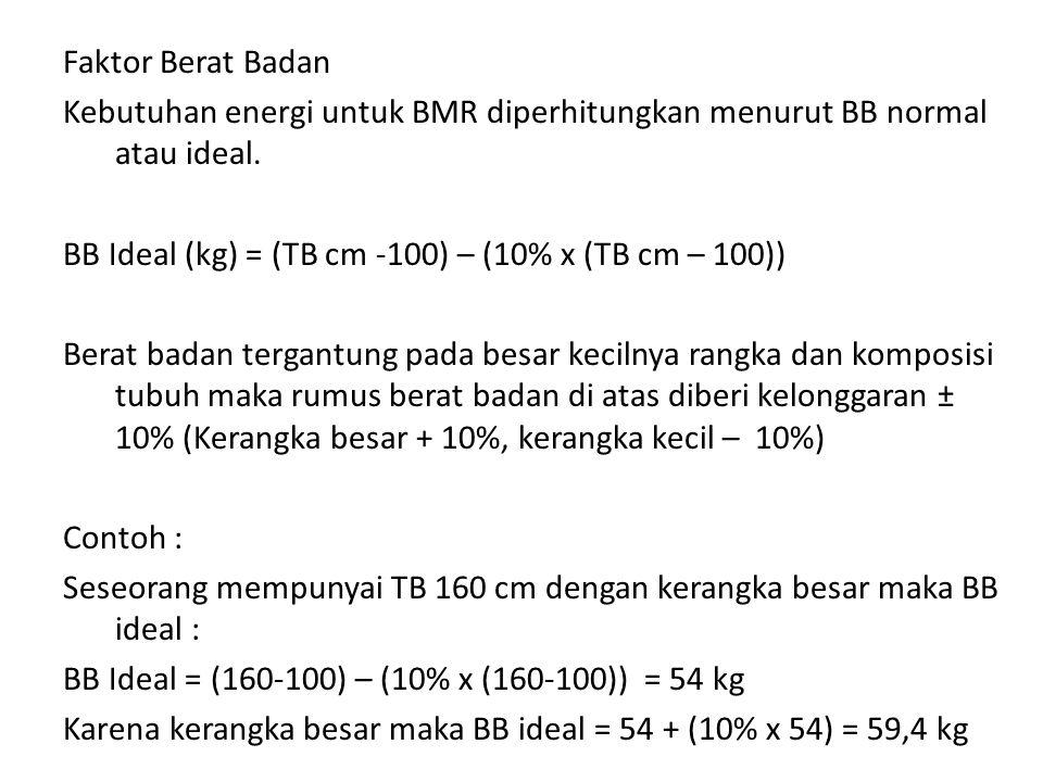 Faktor Berat Badan Kebutuhan energi untuk BMR diperhitungkan menurut BB normal atau ideal.