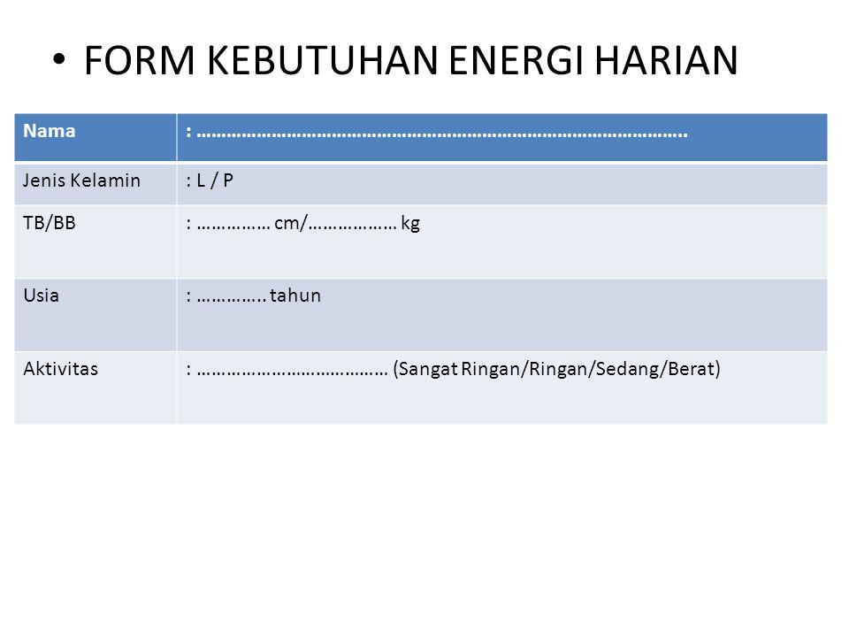 FORM KEBUTUHAN ENERGI HARIAN