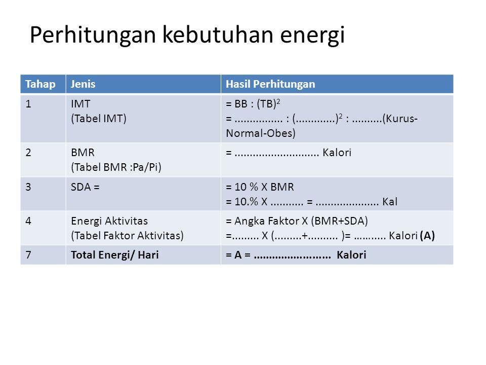 Perhitungan kebutuhan energi